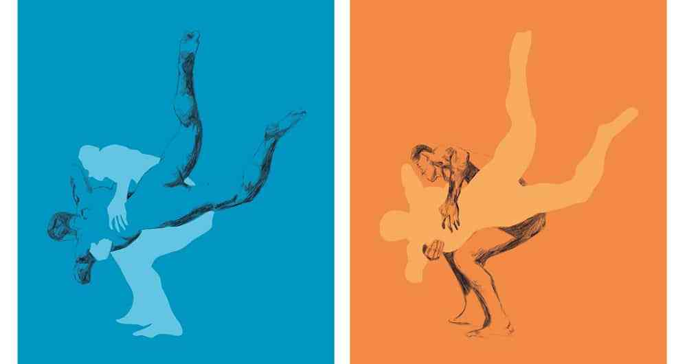 wrestlers motion wrestling art colour abstract
