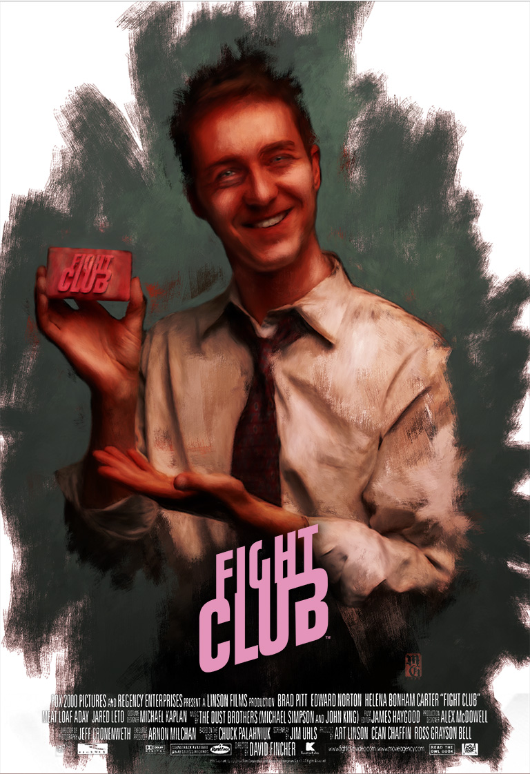 """Alternative """"Fight Club"""" movie poster featuring the Narrator"""