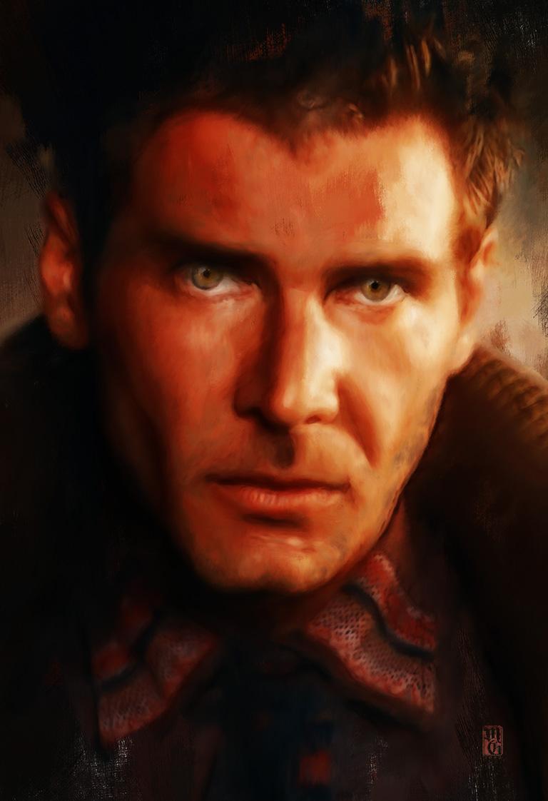 Portrait of Harrison Ford as Rick Deckard