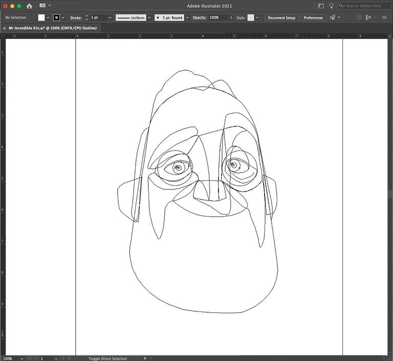 Bob Parr outlines in Adobe Illustrator
