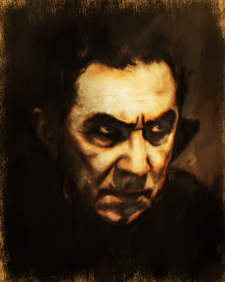 Portrait of Bela Lugosi as his alter-ego Count Dracula