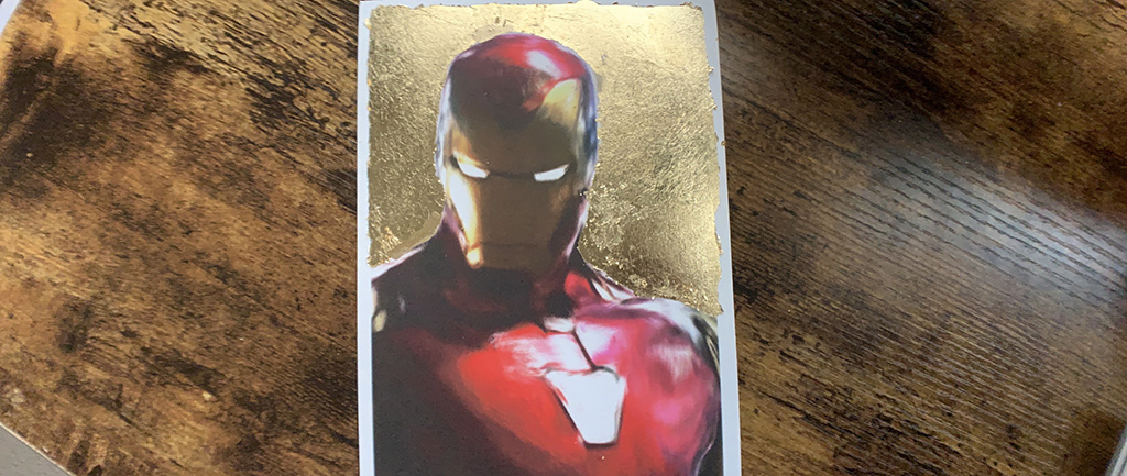 Iron Man with gold leaf print