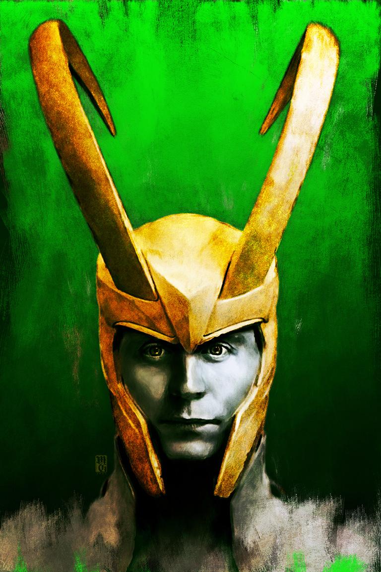 Portrait-sketch of Tom Hiddleston as Loki