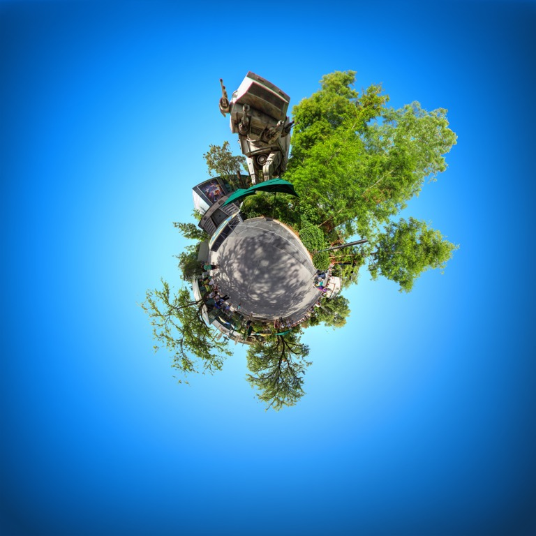 Tiny planet image of the Star Tours attraction in the Disney Hollywood Studios