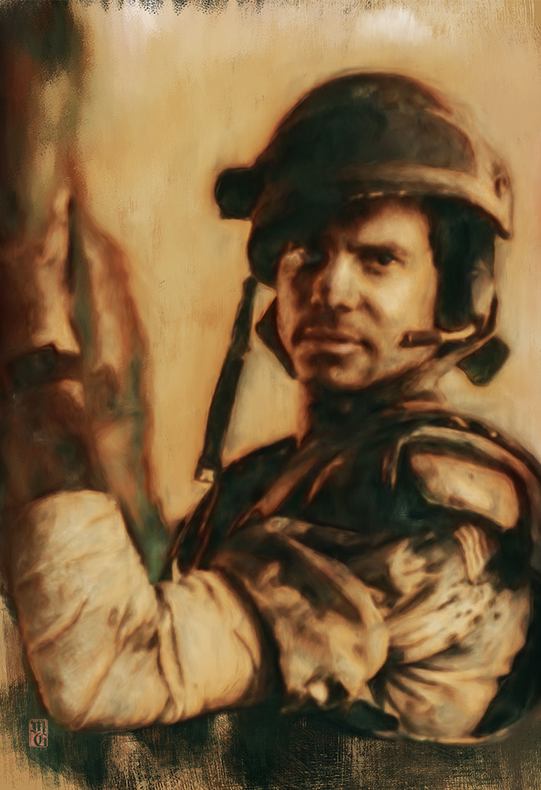 Portrait of Bill Paxton as Hudson from aliens