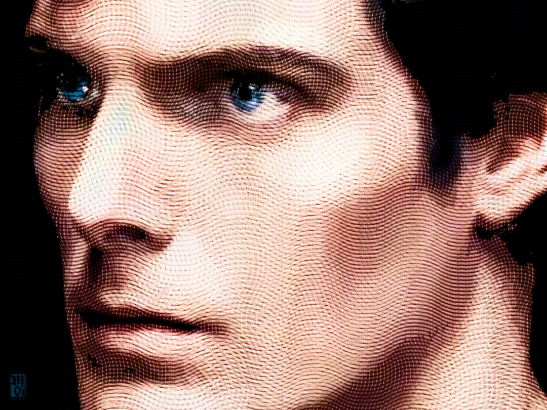 Detail of a portrait of Christopher Reeve as Superman
