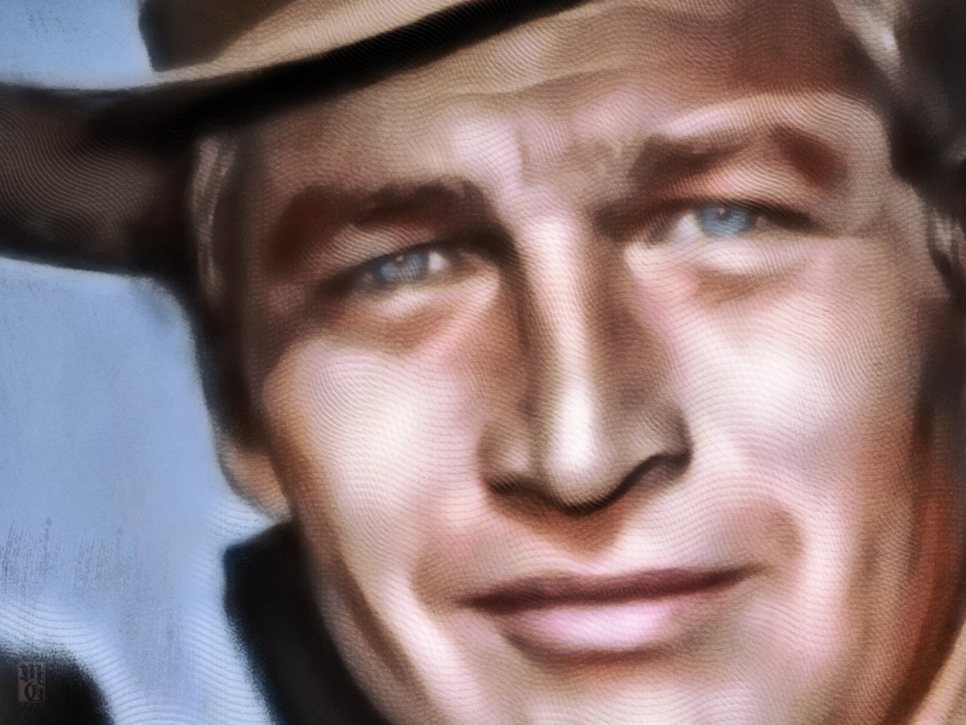 """Detail of portrait of the legendary actor, racer, and philanthropist Paul Newman in his role as Butch Cassidy in """"Butch Cassidy and the Sundance Kid""""."""