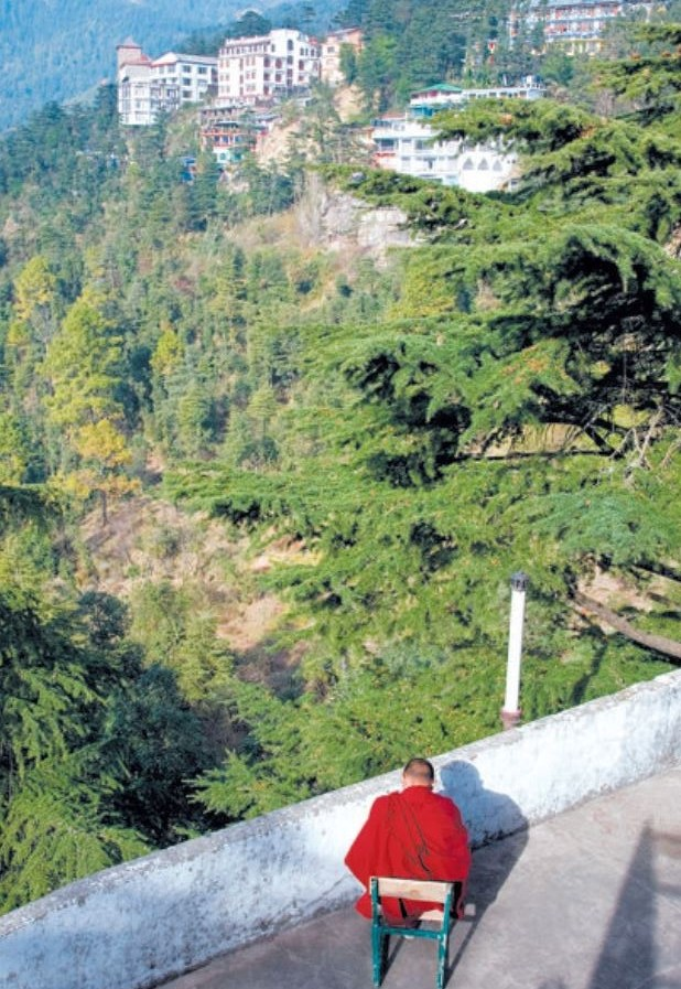 Sanctuary A Buddhist monk looks out over McLeod Ganj in northern India Pep Roig/Alamy