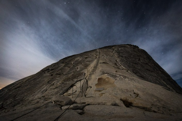 the ladder up halfdome under moonlight