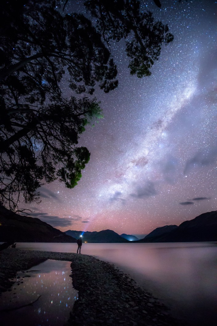 the milky way seen over the Lake in queenstown New zealand