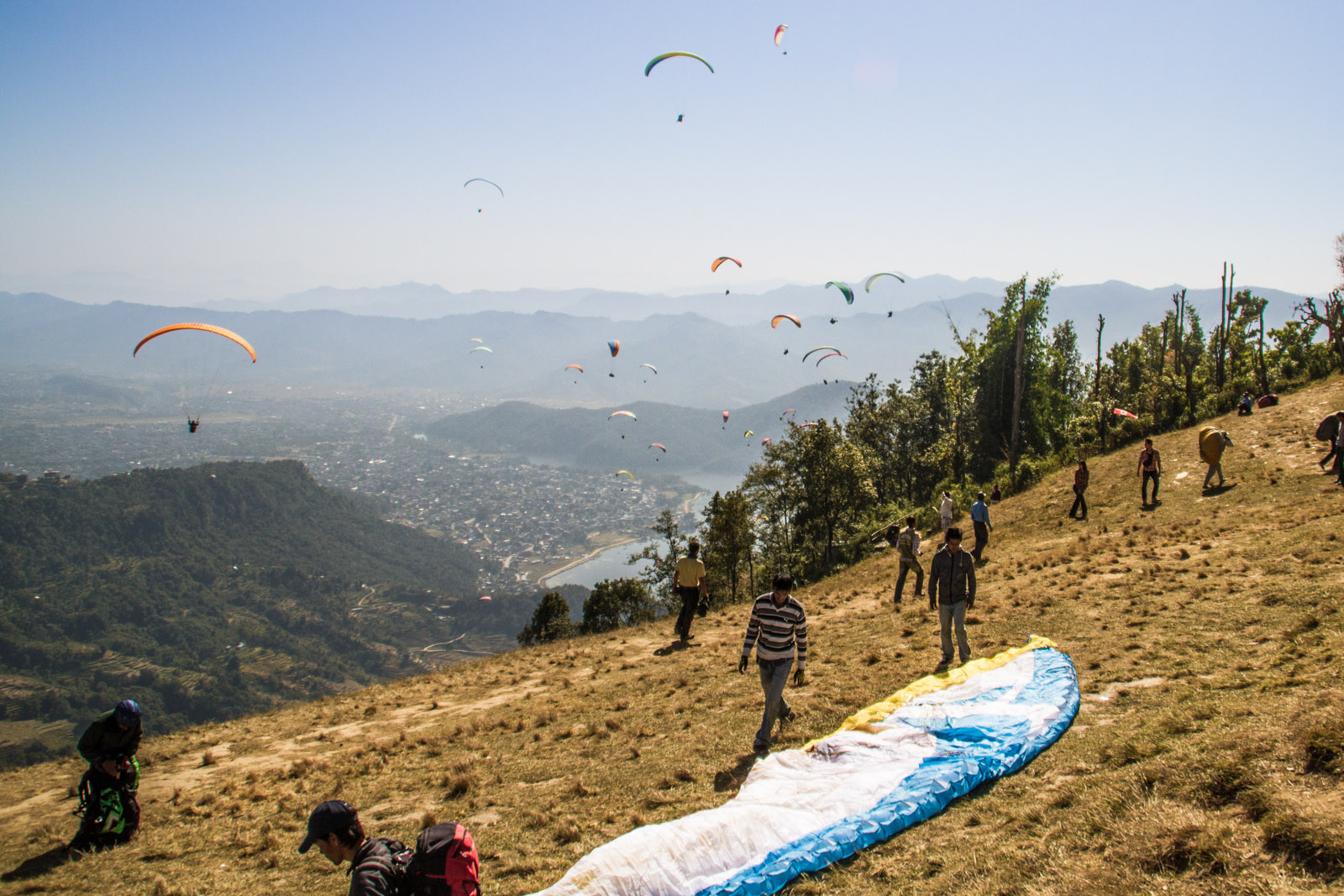 hillside launching place for paragliders