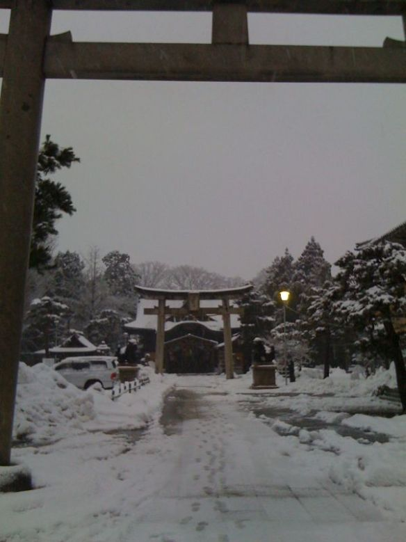 a shrine in the snow