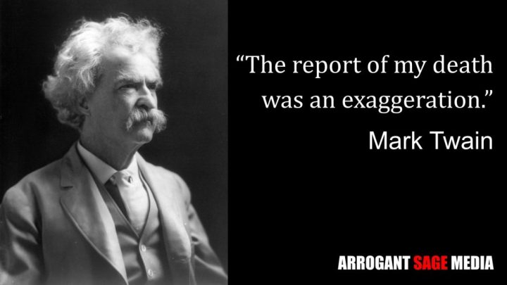 Image of Mark Twain with quotation about his death