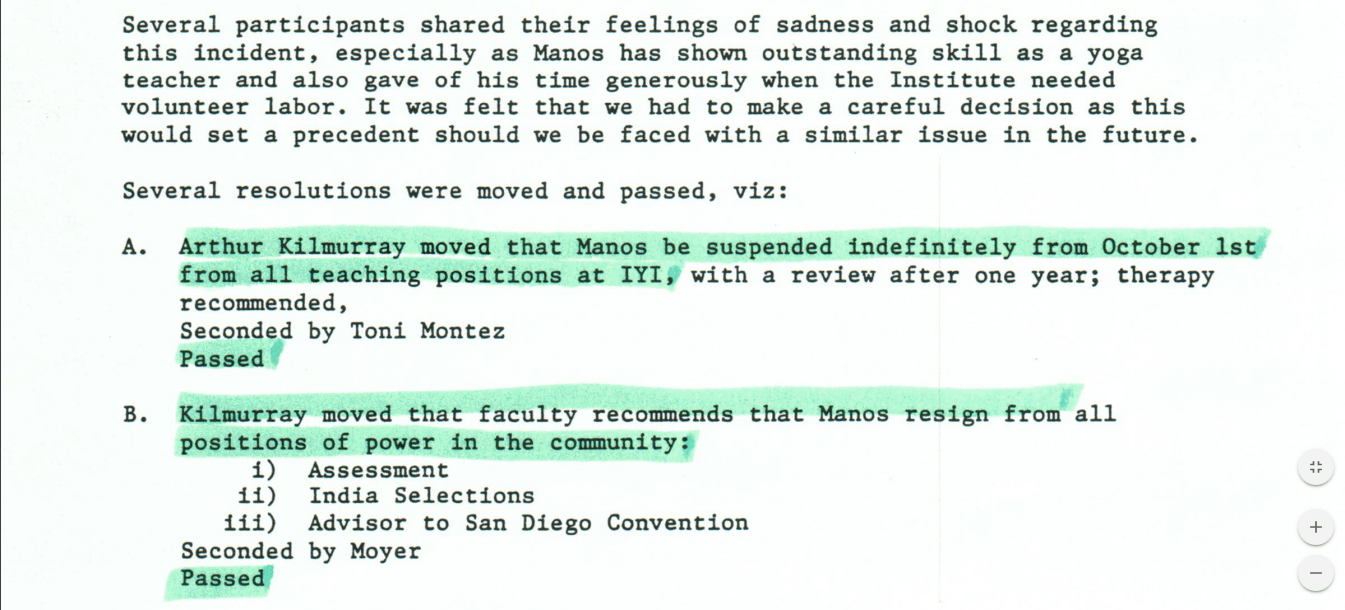 Why Manouso Manos Was Suspended: Meeting Notes and a Letter from 1989/90