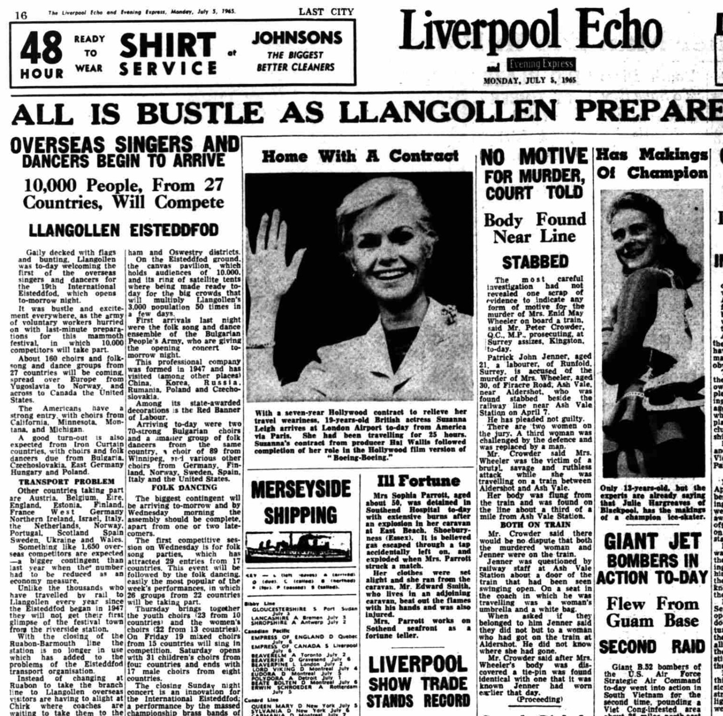 A newspaper page from the Liverpool Echo of 1965. Reports the death of a Mrs Parrett in a caravan explosion.