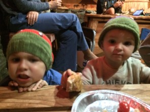 Jordy and Ryan, in Ninja Turtles beanies (made by my mother).
