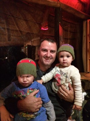 Older brother, Mark, and his two offspring, Jordy and Ryan.