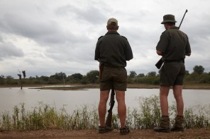 Rangers keeping an eye on things. There was a rogue elephant that gave us a hard time, as well as hippo in that dam. Good thing they were there. PICTURE: Ravi Gajjar