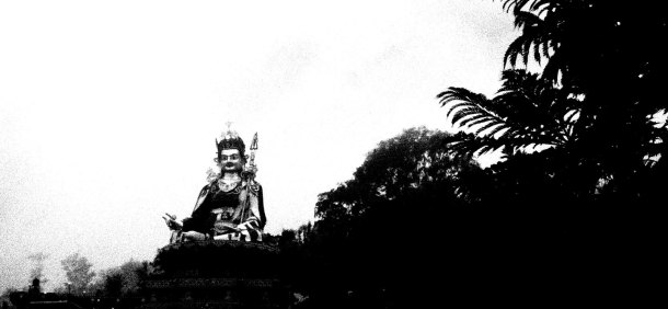 STATUE SILHOUETTE   Giant effigy of Guru Padmasambava, who transported Buddhism to Tibet in the 8th century A.D.   Tso Pema