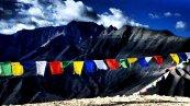 Prayer flags stretch across a the top of a pass in the Ladakhi Himal   Jammu & Kashmir
