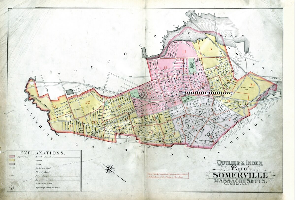 Map of Somerville, Massachusetts.