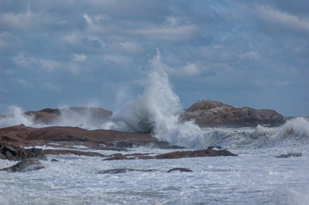 Brace Rock and high surf, Gloucester, Massachusetts