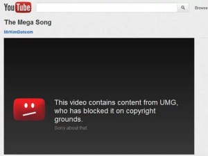 Mega Song block notice on YouTube