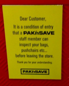 Pak'nSave condition of entry
