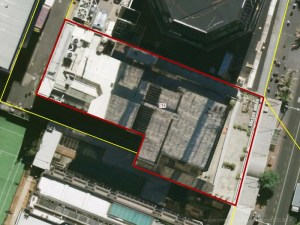Aerial photograph of Centrecourt Building, 131 Queen Street, Auckland
