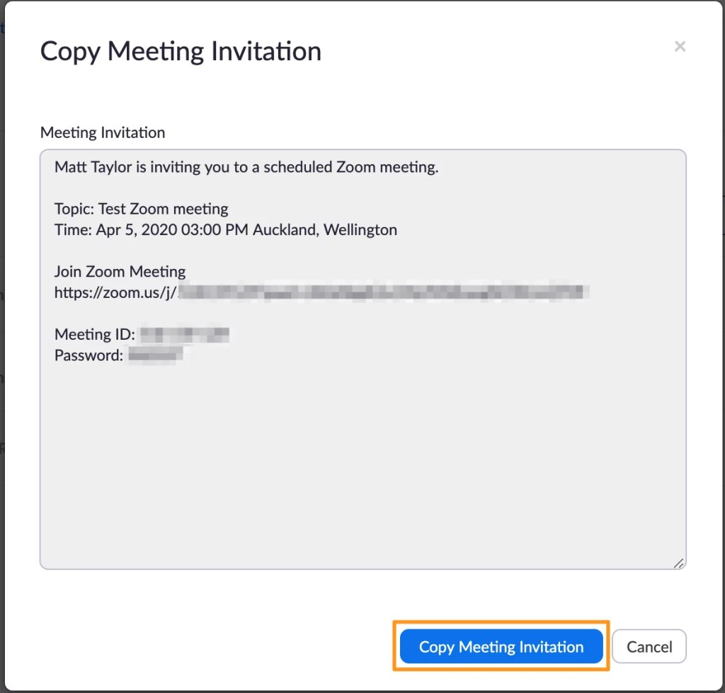 Screenshot of Zoom manage meeting - Copy Meeting Invitation button