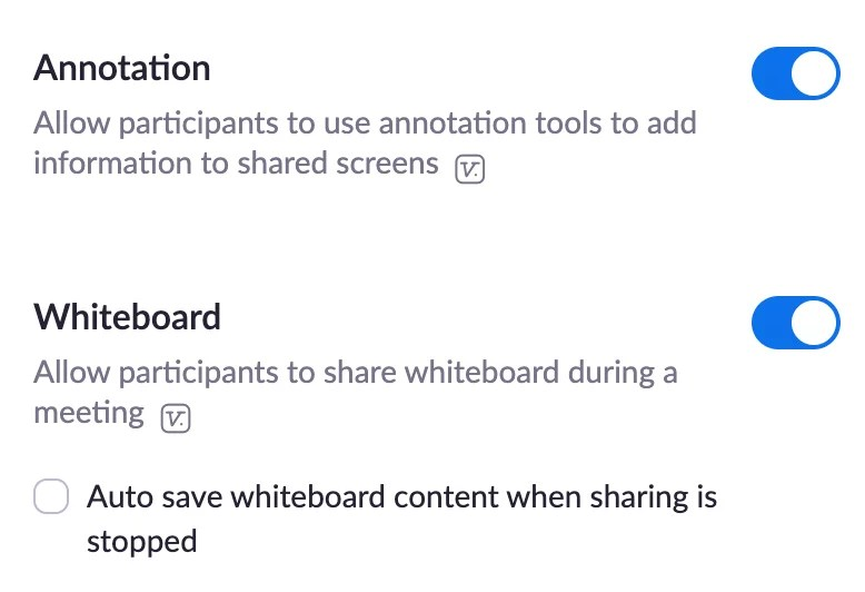 Screenshot of Zoom meeting settings - Annotation and Whiteboard.