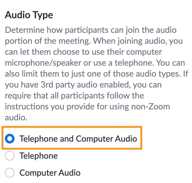 Screenshot of Zoom meeting settings page, audio type with telephone and computer audio selected.