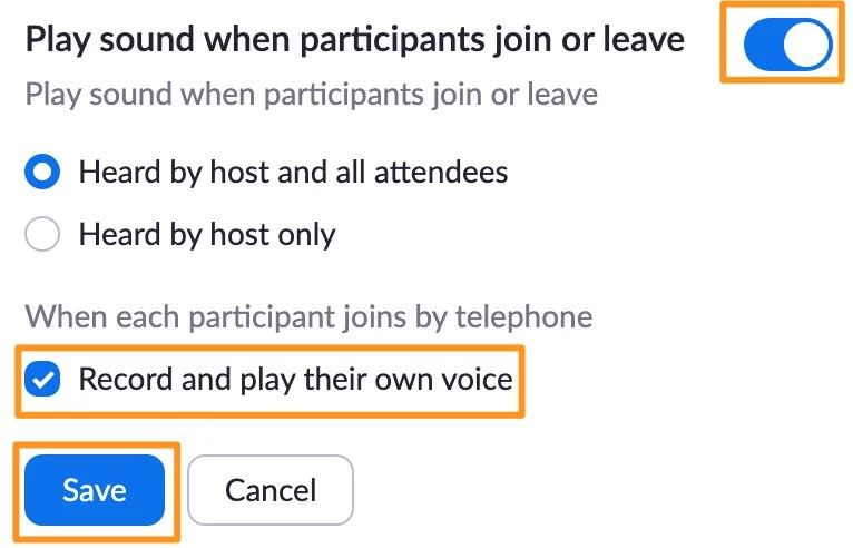 Screenshot of Zoom meeting settings - Play sound when participants join or leave