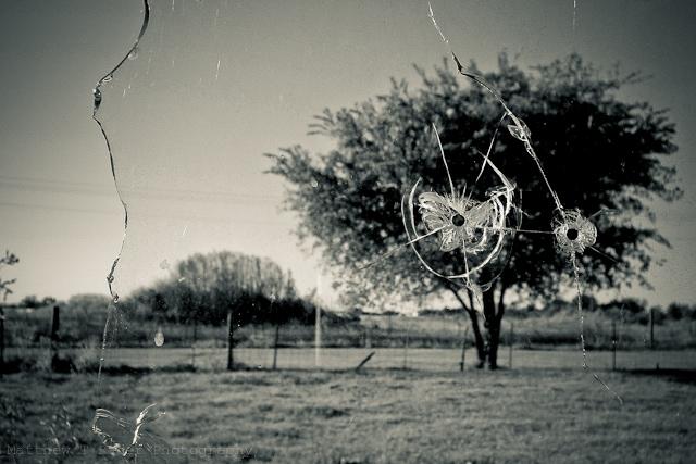Texas Landscape Through a Broken Window