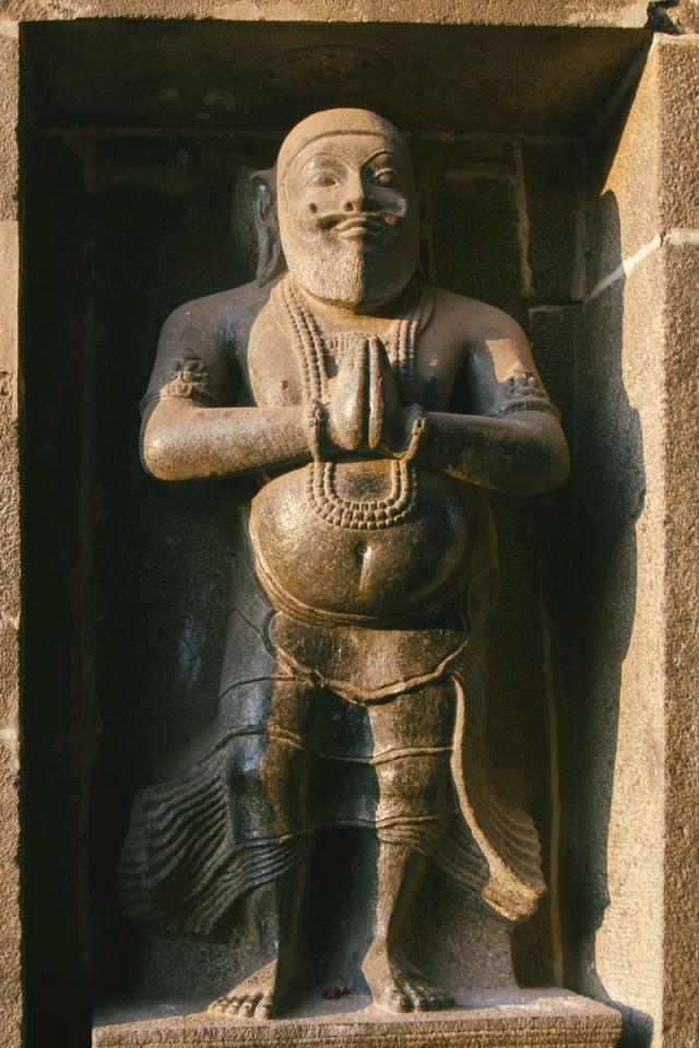 A stone relief of man at the Nataraja Temple, Chidambaram, India