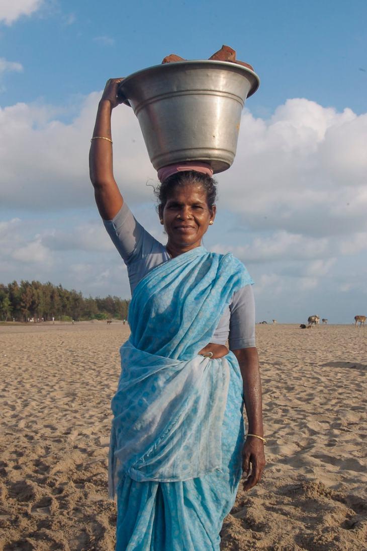 A woman on Nagapattinam Beach