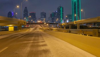 Dallas with no cars on the road after an Ice Storm