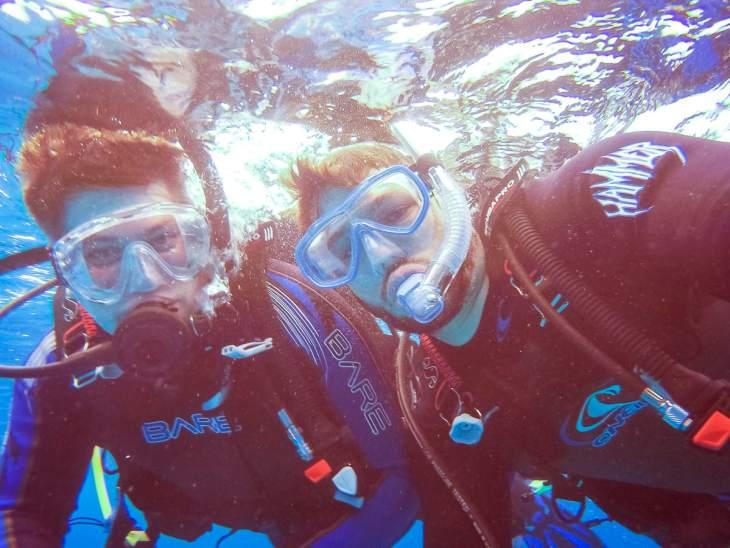 Scuba divers in Cozumel