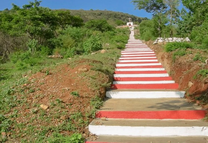 Red and white stairs to a catholic shrine in Ixlahuacan, Jalisco