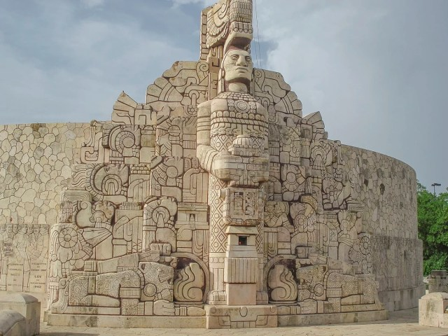 A Mayan inspired monument in downtown