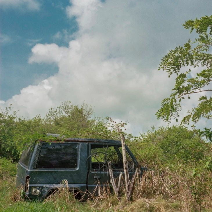 An abandoned vehicle in St. Lucia