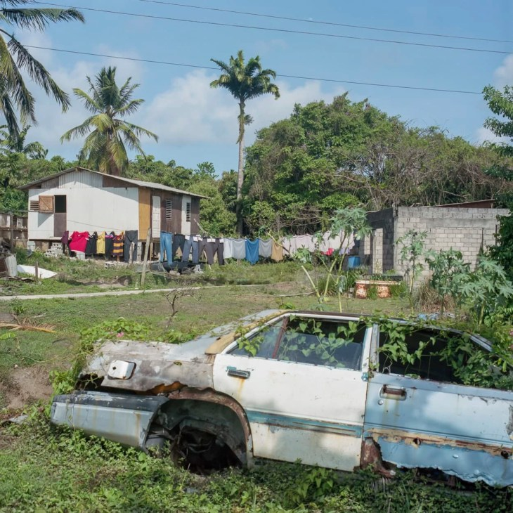 An abandoned car in a villiage in St. Lucia