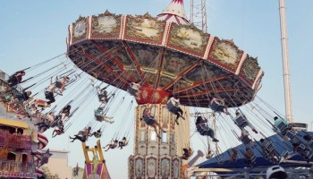 The swing ride at the 2015 State Fair of Texas on medium format film