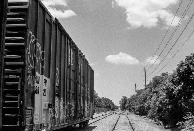 An abandoned rail car in Addison, Texas