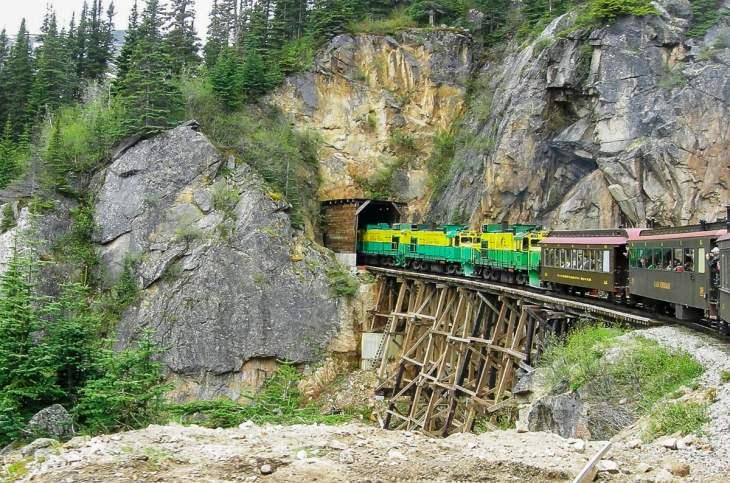 Train gong into a tunnel in Juneau, Alaska