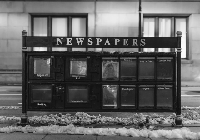 Old newspaper stand in downtown Chicago