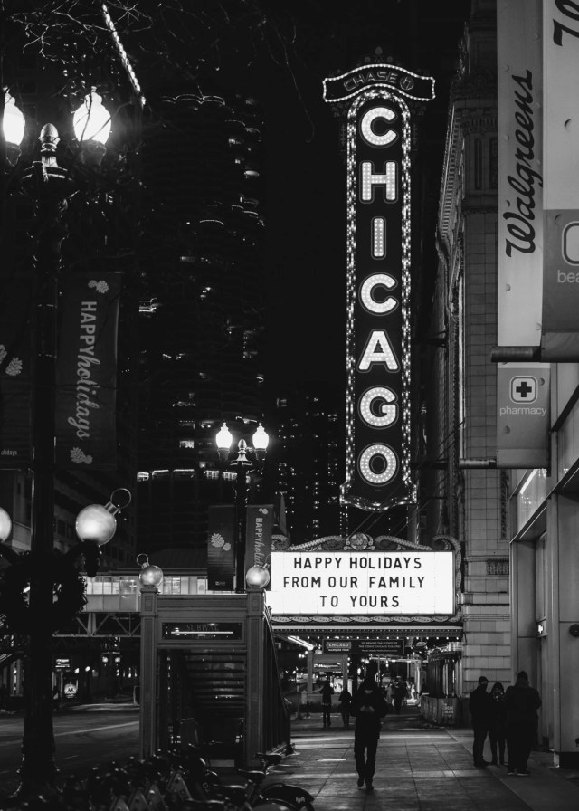 The empty streets of Chicago at the Chicago Theater