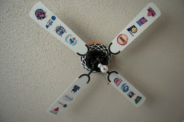 Sports themed ceiling fan at an abandoned house