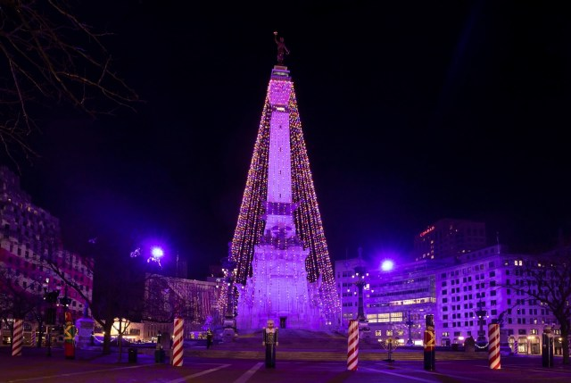 The World's Largest Christmas Tree in Indianapolis at Night with purple lights