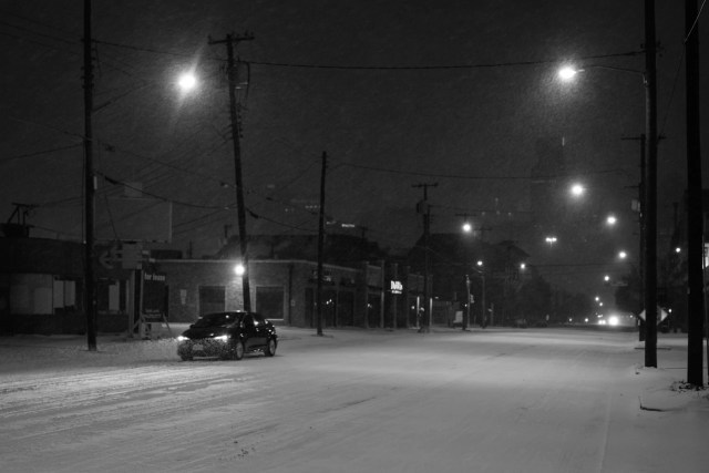 Ross Avenue in the snowstorm